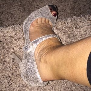 Silver strapped heels